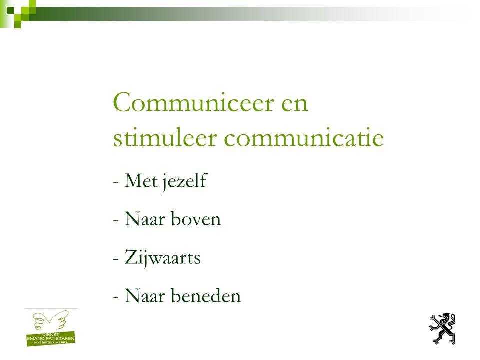 Communiceer en stimuleer communicatie - Met jezelf - Naar boven - Zijwaarts - Naar beneden