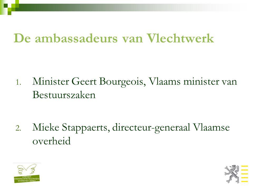 De ambassadeurs van Vlechtwerk 1. Minister Geert Bourgeois, Vlaams minister van Bestuurszaken 2.