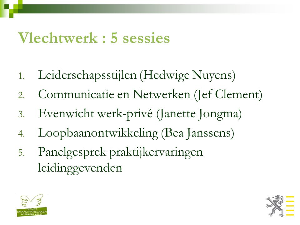 Vlechtwerk : 5 sessies 1. Leiderschapsstijlen (Hedwige Nuyens) 2.