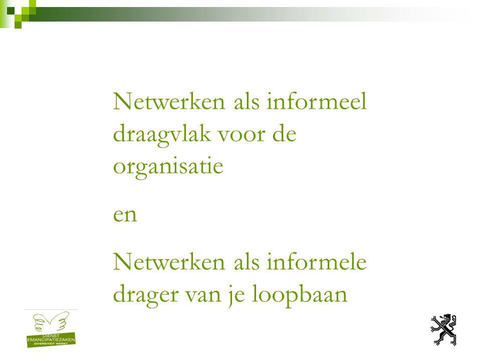 Netwerken als informeel draagvlak voor de organisatie en Netwerken als informele drager van je loopbaan