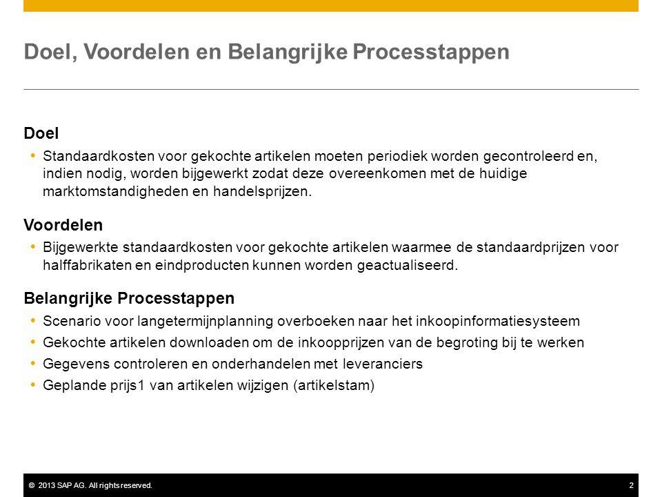 ©2013 SAP AG. All rights reserved.2 Doel, Voordelen en Belangrijke Processtappen Doel  Standaardkosten voor gekochte artikelen moeten periodiek worde