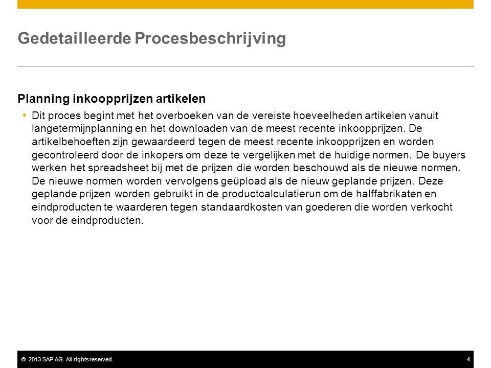 ©2013 SAP AG. All rights reserved.4 Gedetailleerde Procesbeschrijving Planning inkoopprijzen artikelen  Dit proces begint met het overboeken van de v