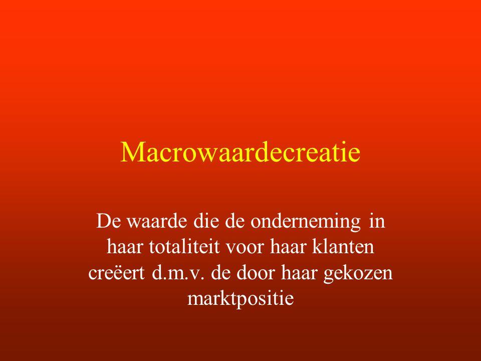 Macrowaardecreatie De waarde die de onderneming in haar totaliteit voor haar klanten creëert d.m.v. de door haar gekozen marktpositie