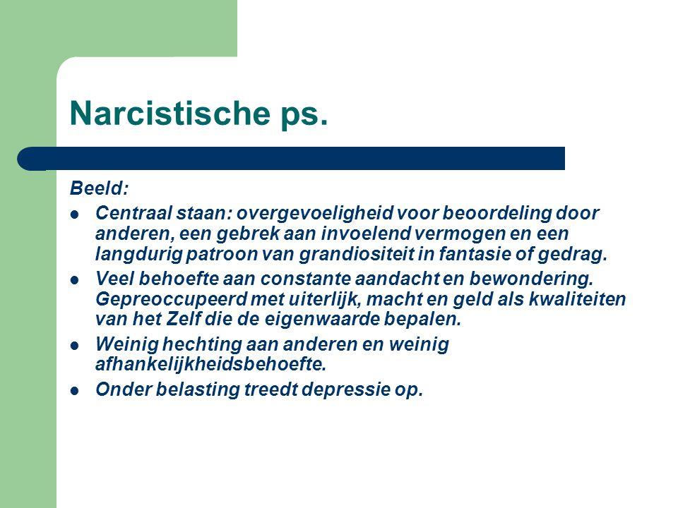 Narcistische ps. Beeld: Centraal staan: overgevoeligheid voor beoordeling door anderen, een gebrek aan invoelend vermogen en een langdurig patroon van