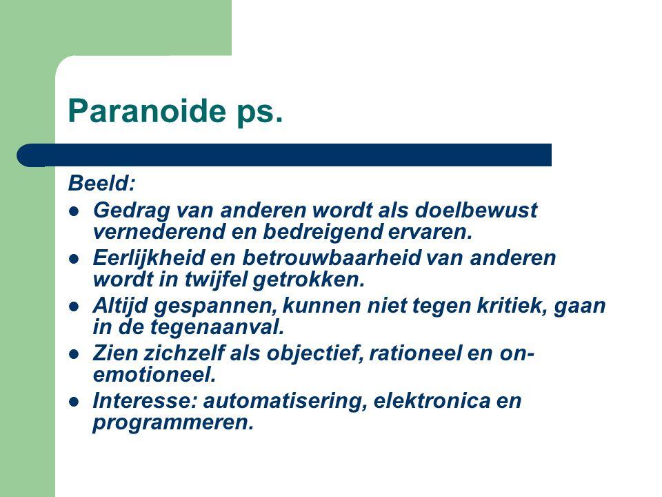 Paranoide ps. Beeld: Gedrag van anderen wordt als doelbewust vernederend en bedreigend ervaren. Eerlijkheid en betrouwbaarheid van anderen wordt in tw