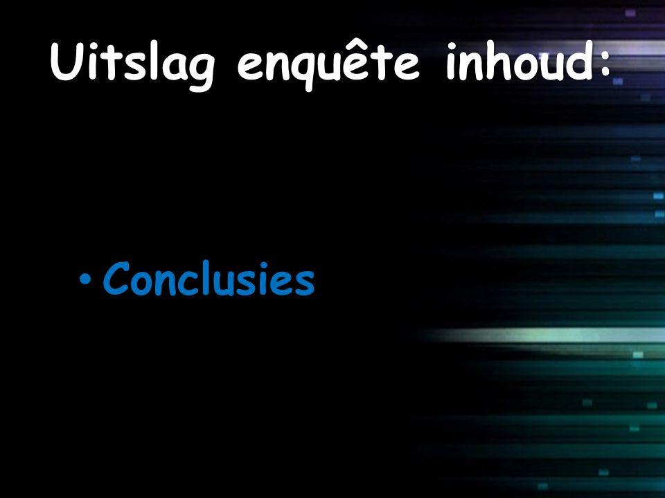 Uitslag enquête inhoud: Conclusies Conclusies