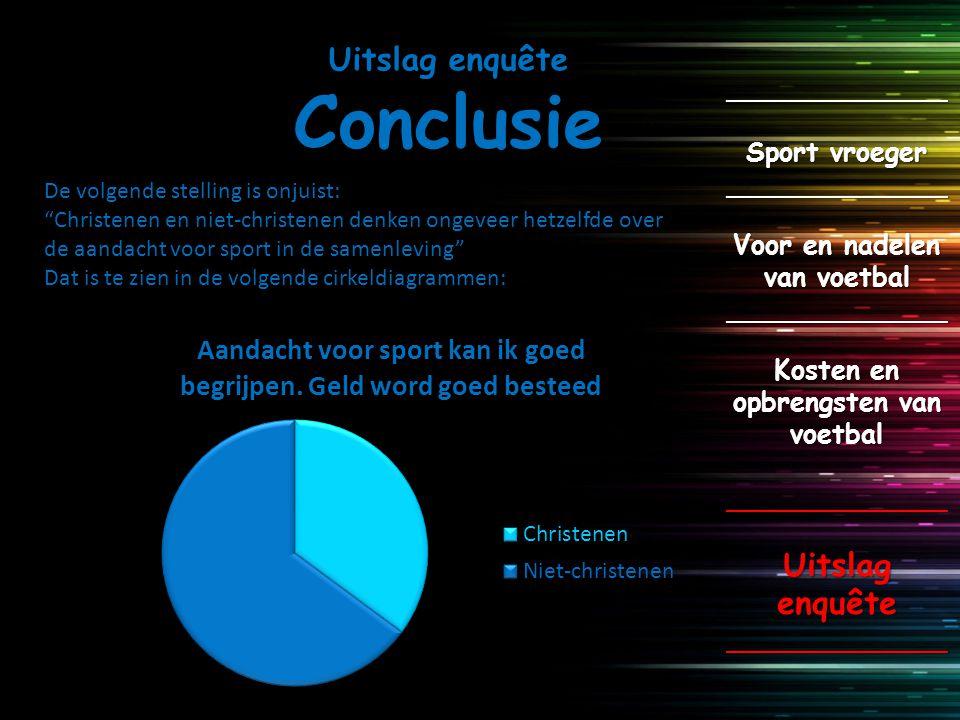 Uitslag enquête Conclusie _____________ Sport vroeger _____________ Voor en nadelen van voetbal _____________ Kosten en opbrengsten van voetbal ______