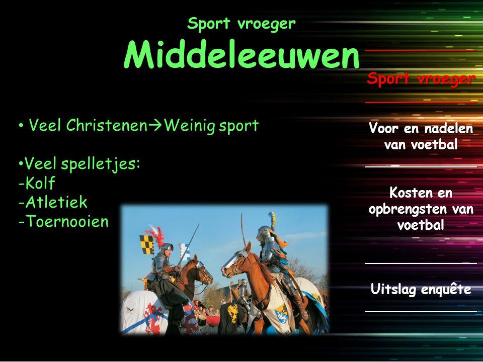Sport vroeger Middeleeuwen _____________ Sport vroeger _____________ Voor en nadelen van voetbal _____________ Kosten en opbrengsten van voetbal _____