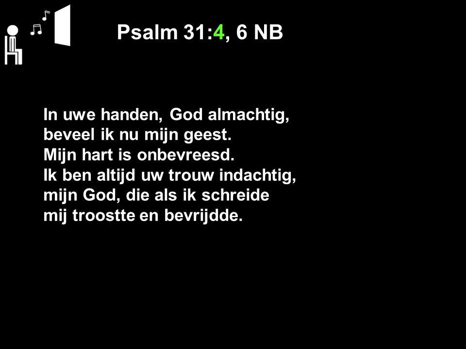 Psalm 31:4, 6 NB In uwe handen, God almachtig, beveel ik nu mijn geest.