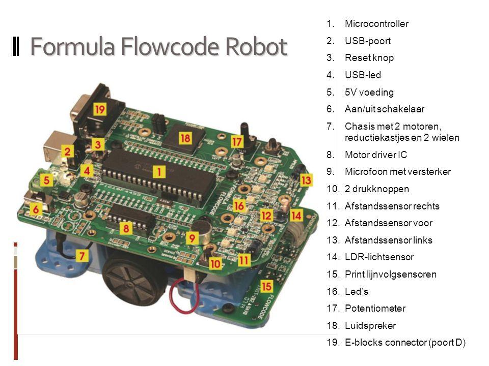 Formula Flowcode Robot 1.Microcontroller 2.USB-poort 3.Reset knop 4.USB-led 5.5V voeding 6.Aan/uit schakelaar 7.Chasis met 2 motoren, reductiekastjes