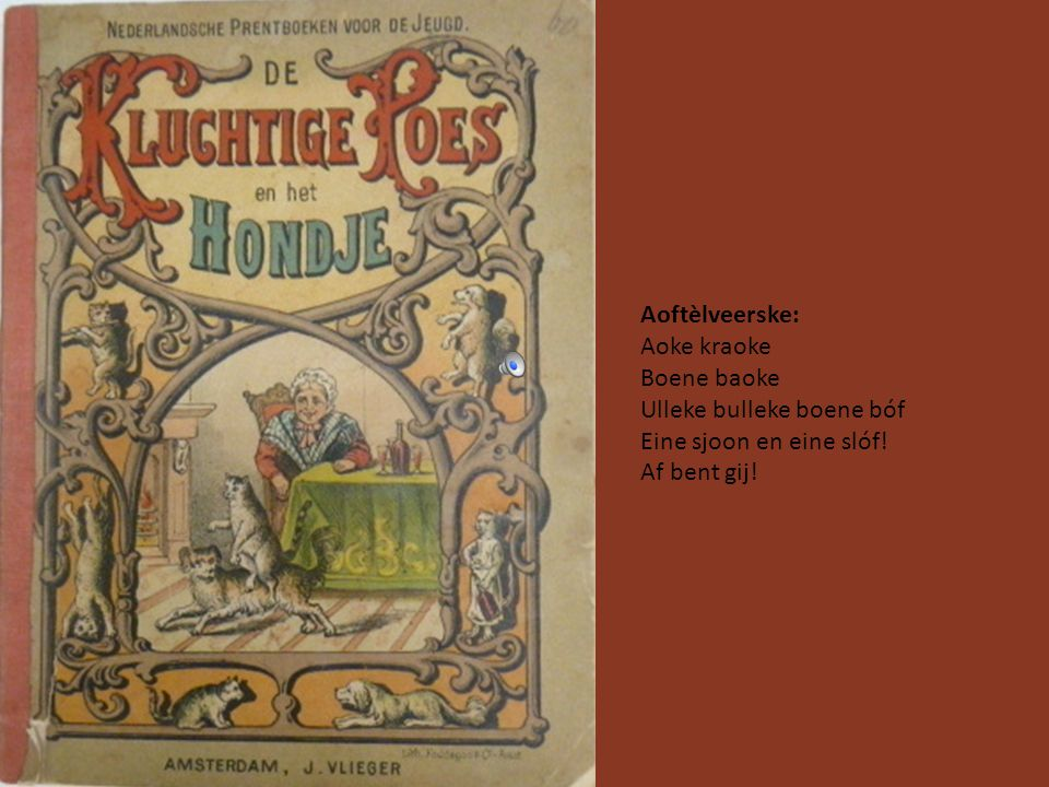 Printebook oet 1947 Aoftèlveerske: Achter 't Vleishoes nómmer drei ligke de stumpkes op 'n rij. Stumpkes groet en stumpkes klein meh ze zien vaan mars