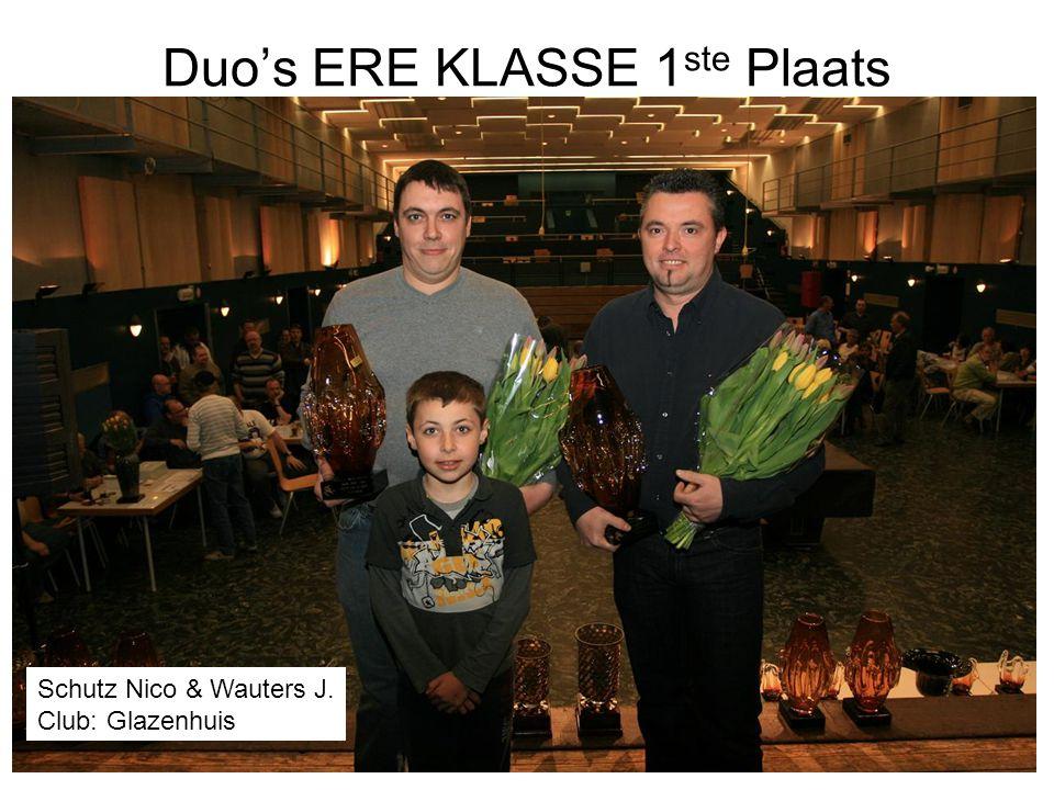Duo's ERE KLASSE 1 ste Plaats Schutz Nico & Wauters J. Club: Glazenhuis