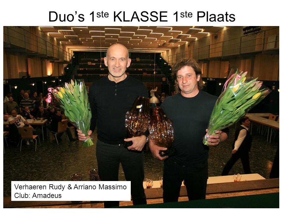 Duo's 1 ste KLASSE 1 ste Plaats Verhaeren Rudy & Arriano Massimo Club: Amadeus