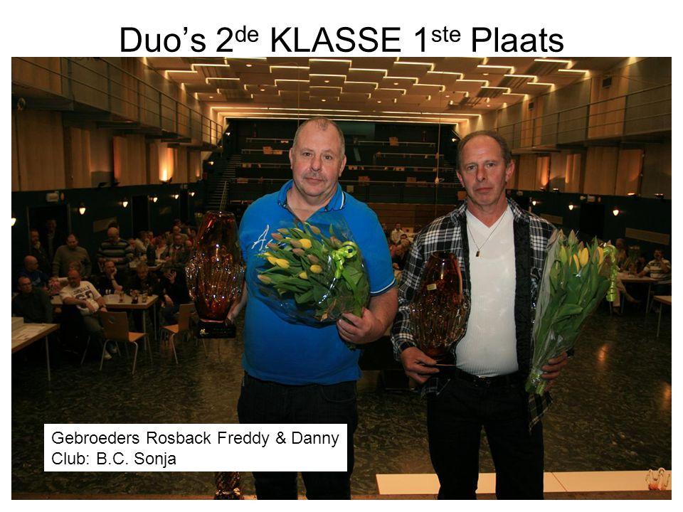 Duo's 2 de KLASSE 1 ste Plaats Gebroeders Rosback Freddy & Danny Club: B.C. Sonja