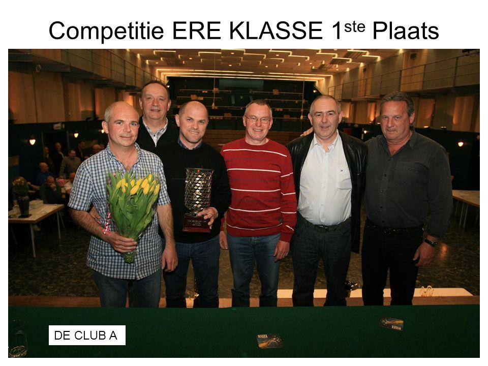 Competitie ERE KLASSE 1 ste Plaats DE CLUB A