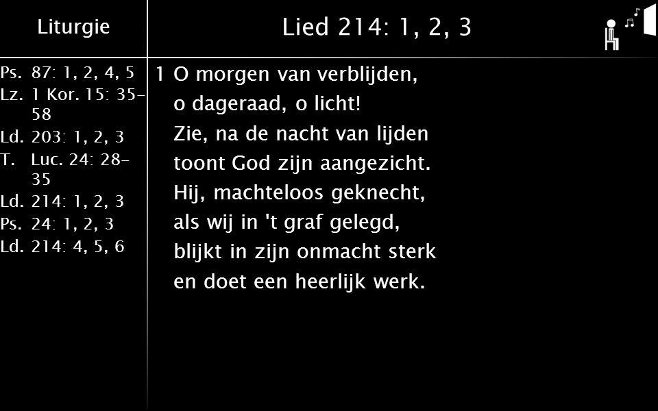 Liturgie Ps.87: 1, 2, 4, 5 Lz.1 Kor. 15: 35- 58 Ld.203: 1, 2, 3 T.Luc.