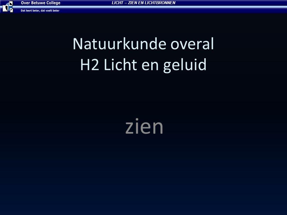Natuurkunde overal H2 Licht en geluid zien LICHT – ZIEN EN LICHTBRONNEN