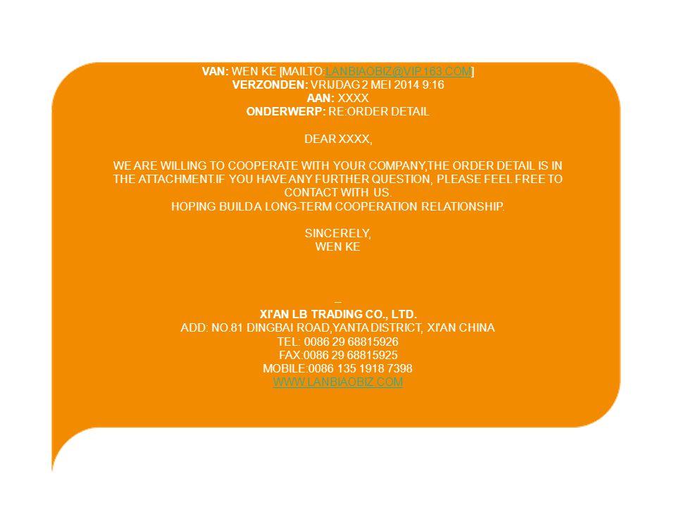 -Gebruik gezond verstand & wees altijd op je hoede, met onbekenden -Nogmaals : als het te mooi is om waar te zijn, dan is het niet waar (zeer grote orders, heel goedkope leveringen) -FIT heeft 3 kantoren in Mainland China (Beijing, Shanghai, Guangzhou) die altijd adressen kunnen bezorgen van importeurs voor uw producten BESLUIT