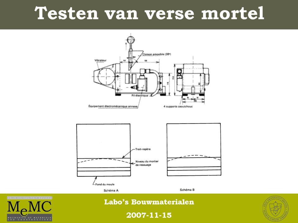 Labo's Bouwmaterialen 2007-11-15 Testen van verse mortel
