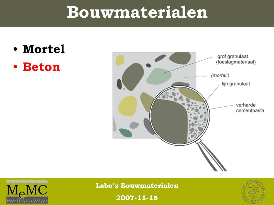 Labo's Bouwmaterialen 2007-11-15 Mortel Beton Bouwmaterialen