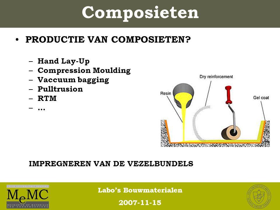 Labo's Bouwmaterialen 2007-11-15 Composieten PRODUCTIE VAN COMPOSIETEN? – Hand Lay-Up – Compression Moulding – Vaccuum bagging – Pulltrusion – RTM – …