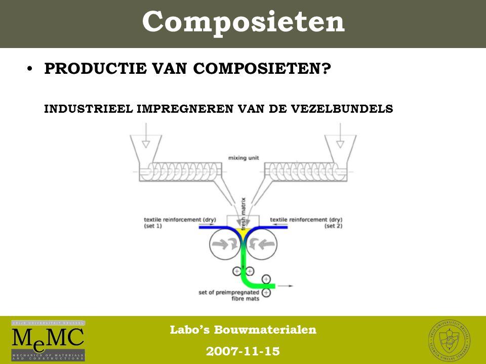 Labo's Bouwmaterialen 2007-11-15 Composieten PRODUCTIE VAN COMPOSIETEN? INDUSTRIEEL IMPREGNEREN VAN DE VEZELBUNDELS