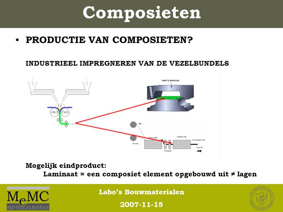 Labo's Bouwmaterialen 2007-11-15 Composieten PRODUCTIE VAN COMPOSIETEN? INDUSTRIEEL IMPREGNEREN VAN DE VEZELBUNDELS Mogelijk eindproduct: Laminaat = e