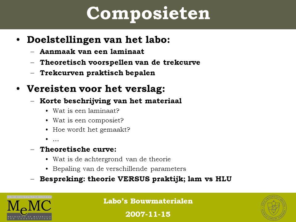 Labo's Bouwmaterialen 2007-11-15 Composieten Doelstellingen van het labo: – Aanmaak van een laminaat – Theoretisch voorspellen van de trekcurve – Trek