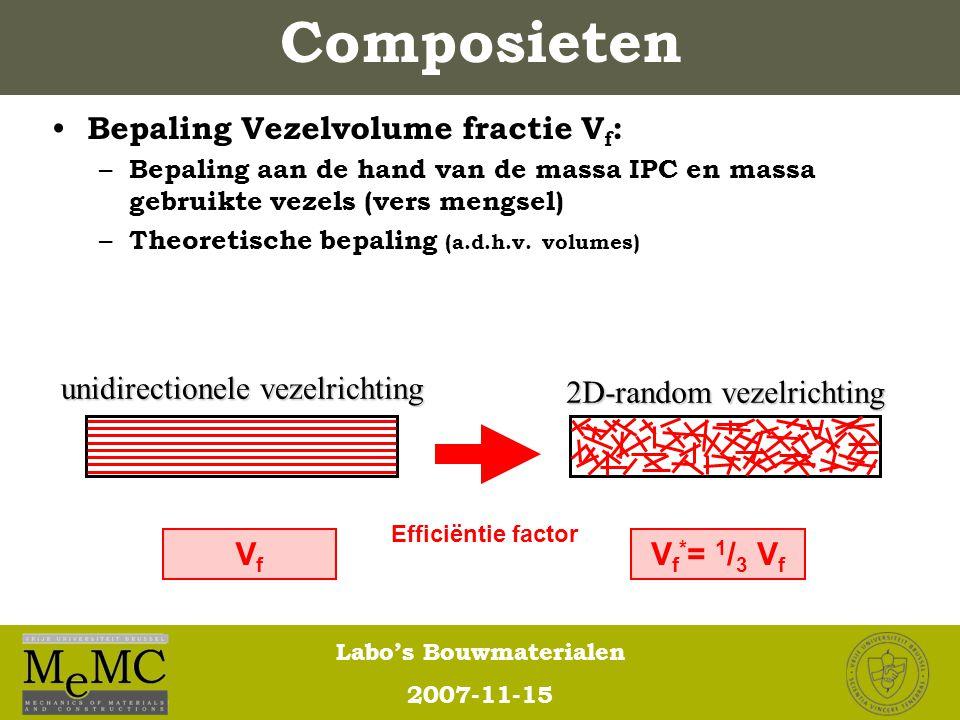 Labo's Bouwmaterialen 2007-11-15 Composieten Bepaling Vezelvolume fractie V f : – Bepaling aan de hand van de massa IPC en massa gebruikte vezels (ver