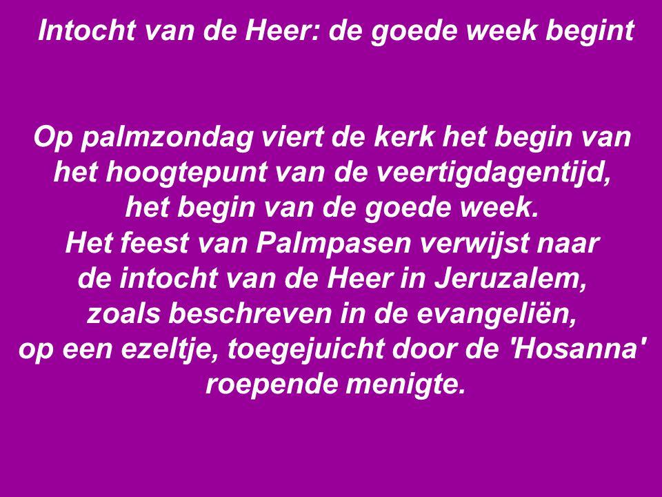 Intocht van de Heer: de goede week begint Op palmzondag viert de kerk het begin van het hoogtepunt van de veertigdagentijd, het begin van de goede week.