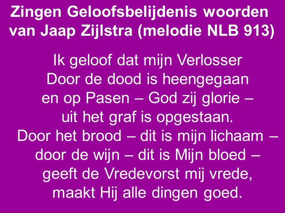 Zingen Geloofsbelijdenis woorden van Jaap Zijlstra (melodie NLB 913) Ik geloof dat mijn Verlosser Door de dood is heengegaan en op Pasen – God zij glorie – uit het graf is opgestaan.