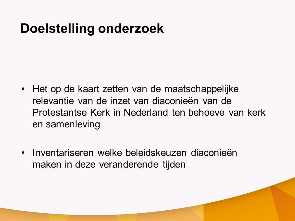Doelstelling onderzoek Het op de kaart zetten van de maatschappelijke relevantie van de inzet van diaconieën van de Protestantse Kerk in Nederland ten behoeve van kerk en samenleving Inventariseren welke beleidskeuzen diaconieën maken in deze veranderende tijden