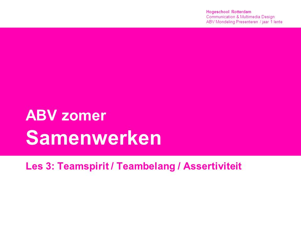 Hogeschool Rotterdam Communication & Multimedia Design ABV Mondeling Presenteren / jaar 1 lente Eindbeoordeling Teamspirit: ieder lid van het team heeft zich ook daadwerkelijk ingezet ook als het wat minder goed ging bleef de teamspirit positief als er kritiek was op het vervullen van een taak, dan gebeurde dit op een opbouwende Samenwerken de taakverdeling verliep vlot en was praktisch ieder teamlid kreeg de ruimte om zijn taak op zijn eigen manier, maar met hulp van anderen uit te voeren teamleden konden rekenen op elkaars steun, als ze moeite hadden met het vervullen van hun taak Eindresultaat: Het team heeft zich in het begin een bepaald doel gesteld Het team herkent een bepaalde meerwaarde in het laatste ruilvoorwerp (economisch, sociaal, symbolisch, emotioneel, praktisch, toekomstig, enz.) Het team kan deze meerwaarde op een geloofwaardige manier 'verkopen' aan haar publiek'