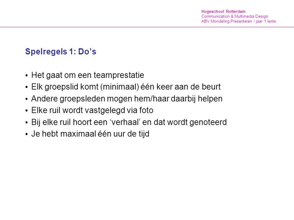 Hogeschool Rotterdam Communication & Multimedia Design ABV Mondeling Presenteren / jaar 1 lente Spelregels 2: Don'ts bij huizen aanbellen mensen aanspreken in winkels mensen lastig vallen (lees hun non-verbale communicatie!) doorpraten als mensen dat niet willen agressief zijn en beledigende taal gebruiken alles wat 'normaal' ook niet door de beugel kan Spreek elkaar aan op fout gedrag!