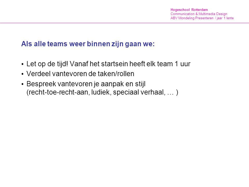 Hogeschool Rotterdam Communication & Multimedia Design ABV Mondeling Presenteren / jaar 1 lente Als alle teams weer binnen zijn gaan we: Let op de tijd.
