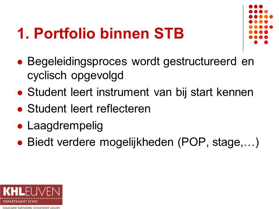 1. Portfolio binnen STB Begeleidingsproces wordt gestructureerd en cyclisch opgevolgd Student leert instrument van bij start kennen Student leert refl