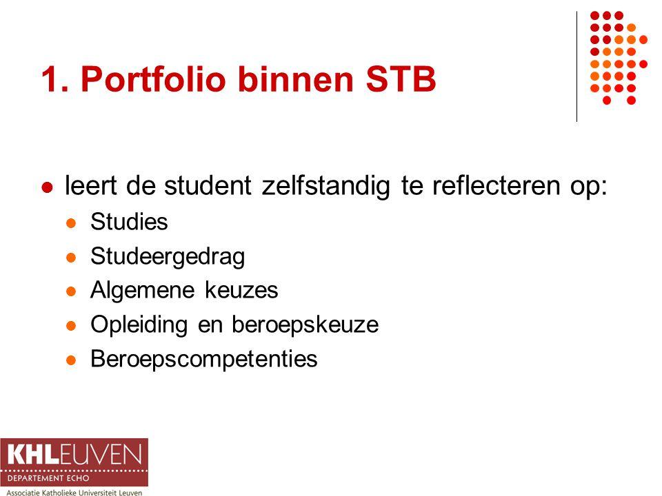 1. Portfolio binnen STB leert de student zelfstandig te reflecteren op: Studies Studeergedrag Algemene keuzes Opleiding en beroepskeuze Beroepscompete