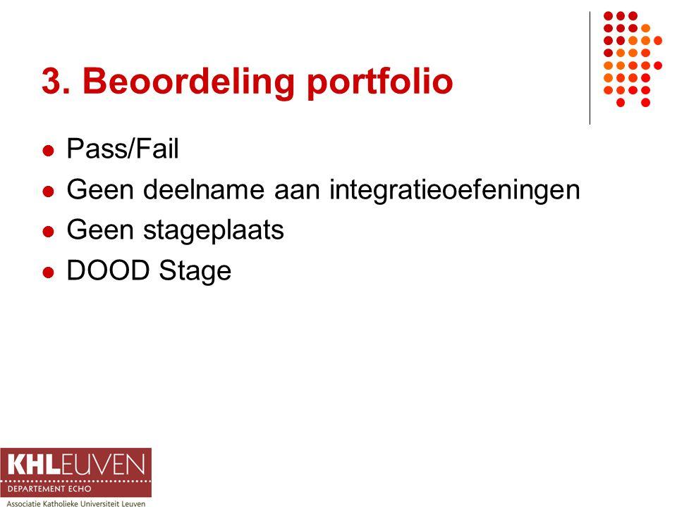 3. Beoordeling portfolio Pass/Fail Geen deelname aan integratieoefeningen Geen stageplaats DOOD Stage
