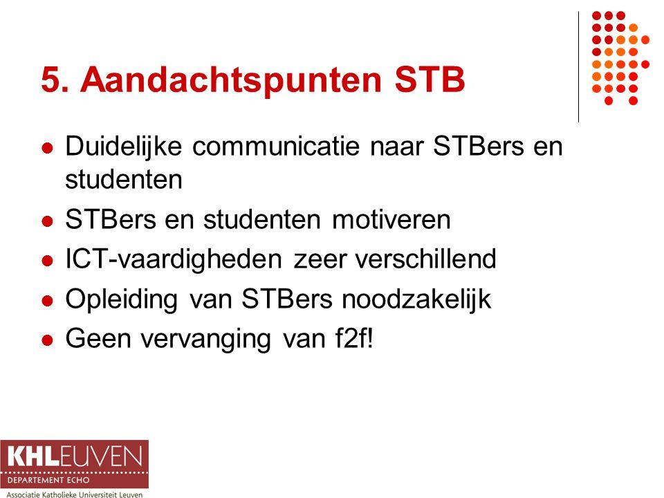 5. Aandachtspunten STB Duidelijke communicatie naar STBers en studenten STBers en studenten motiveren ICT-vaardigheden zeer verschillend Opleiding van