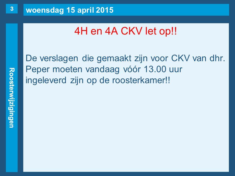 woensdag 15 april 2015 Roosterwijzigingen 4H en 4A CKV let op!.