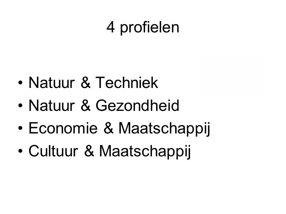4 profielen Natuur & Techniek Natuur & Gezondheid Economie & Maatschappij Cultuur & Maatschappij