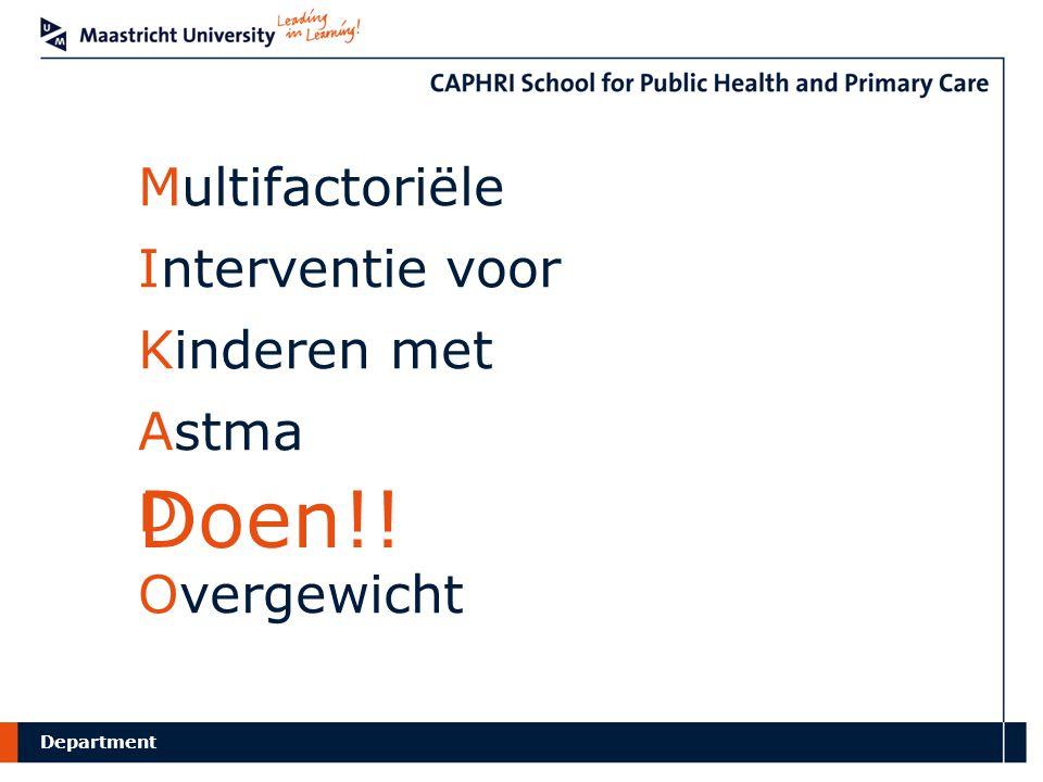 Department Multifactoriële Interventie voor Kinderen met Astma D Overgewicht Doen!!