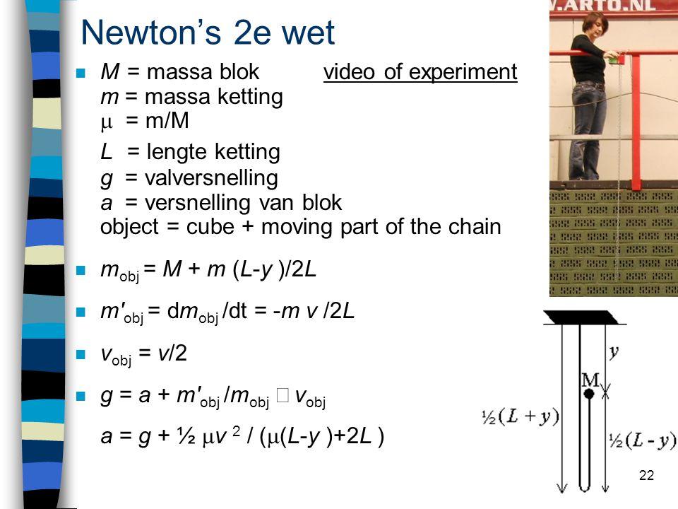 Newton's 2e wet M = massa blok video of experiment m = massa ketting  = m/M L = lengte ketting g = valversnelling a = versnelling van blok object = cube + moving part of the chainvideo of experiment n m obj = M + m (L-y )/2L n m obj = dm obj /dt = -m v /2L n v obj = v/2 g = a + m obj /m obj  v obj a = g + ½  v 2 / (  (L-y )+2L ) 22