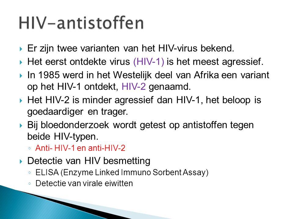  Er zijn twee varianten van het HIV-virus bekend.  Het eerst ontdekte virus (HIV-1) is het meest agressief.  In 1985 werd in het Westelijk deel van