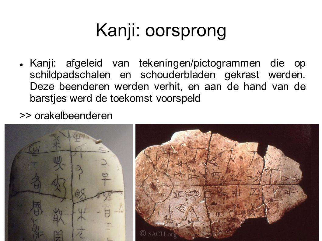 Kanji: oorsprong Kanji: afgeleid van tekeningen/pictogrammen die op schildpadschalen en schouderbladen gekrast werden.
