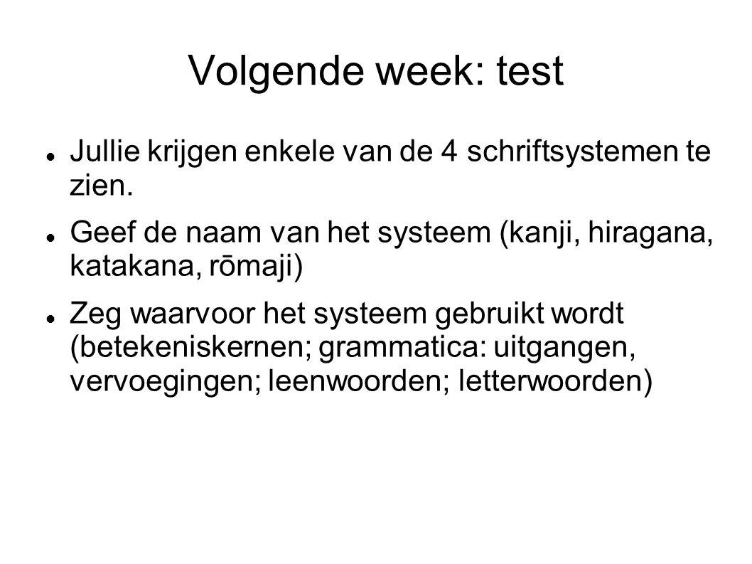 Volgende week: test Jullie krijgen enkele van de 4 schriftsystemen te zien.