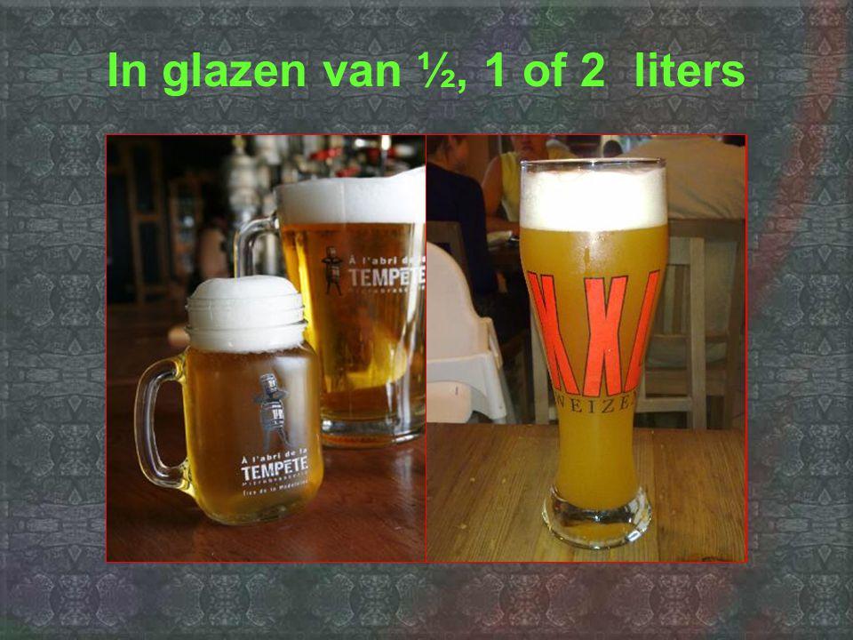 In glazen van ½, 1 of 2 liters