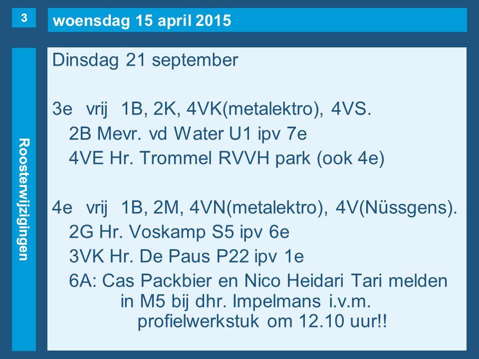 woensdag 15 april 2015 Roosterwijzigingen Dinsdag 21 september 3evrij1B, 2K, 4VK(metalektro), 4VS.