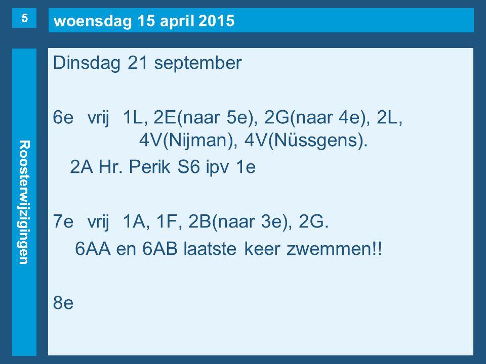 woensdag 15 april 2015 Roosterwijzigingen Dinsdag 21 september 6evrij1L, 2E(naar 5e), 2G(naar 4e), 2L, 4V(Nijman), 4V(Nüssgens).