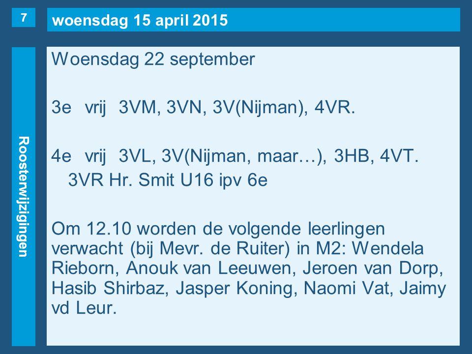 woensdag 15 april 2015 Roosterwijzigingen Woensdag 22 september 3evrij3VM, 3VN, 3V(Nijman), 4VR.